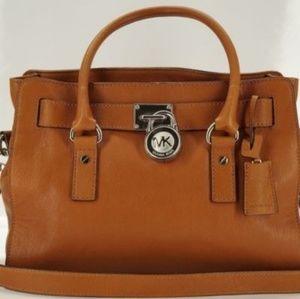 Michael Kors Hamilton Brown Leather Bag Medium